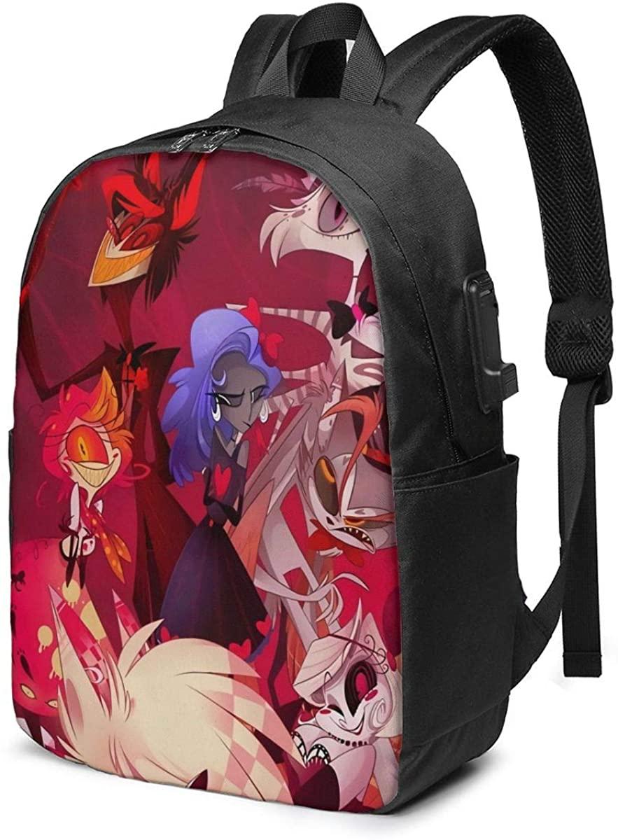EARYLER Angel -Dust -Hazbin -Hotel - Laptop Usb Backpack Casual Travel Outdoor Rucksack College School Bag