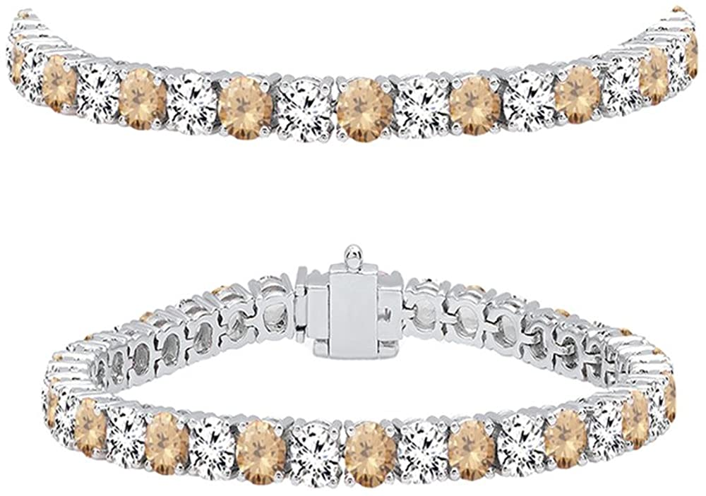 Dazzlingrock Collection 14K Round Cut Real Champagne & White Diamond Ladies Tennis Bracelet, White Gold