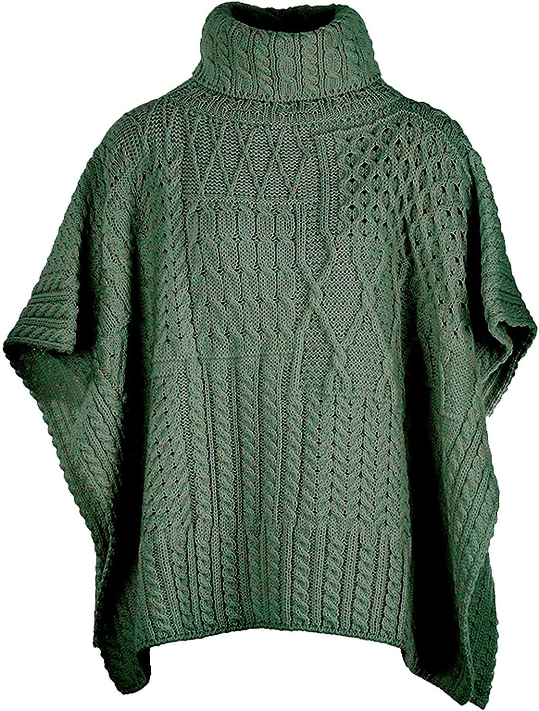 SAOL Irish Patchwork Aran Cowl Cape - Ladies 100% Merino Wool Poncho