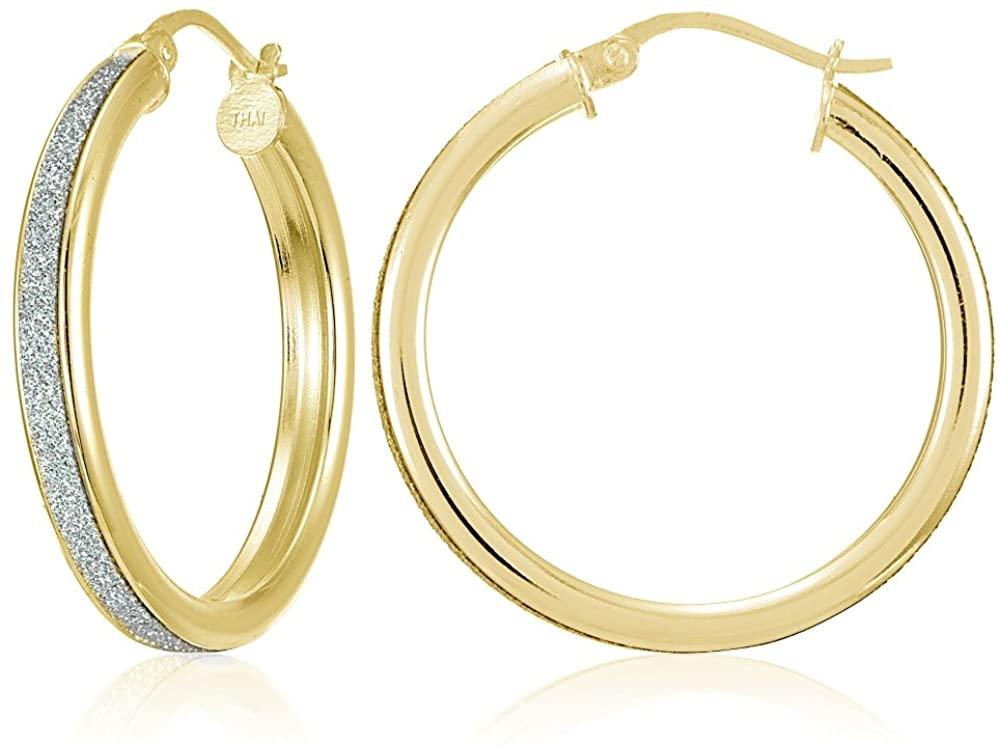 Sterling Silver Glitter Round Hoop Earrings, 15mm-30mm