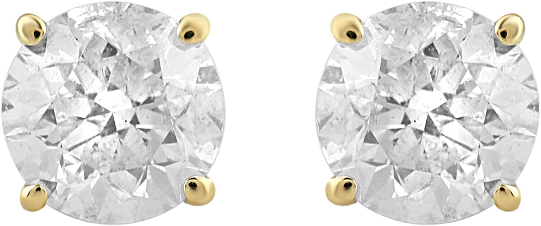 Jewelili 14kt Yellow Gold Round Natural White Diamond Stud Earrings, 1cttw