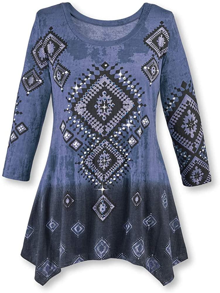 Collections Etc Womens Diamond Aztec Sharkbite Tunic, Southwestern Style Indigo Blue X-Large