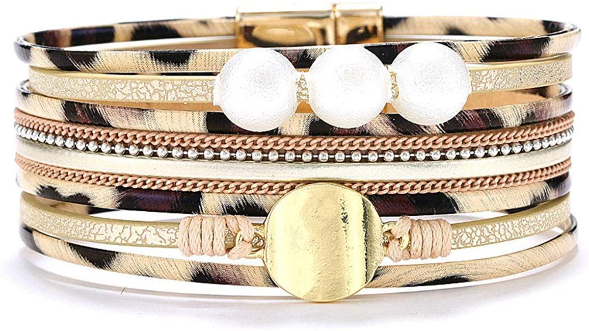Lingdong Leopard Bracelet Leopard Wrap Bracelet Leather Cuff women Charm Bracelet