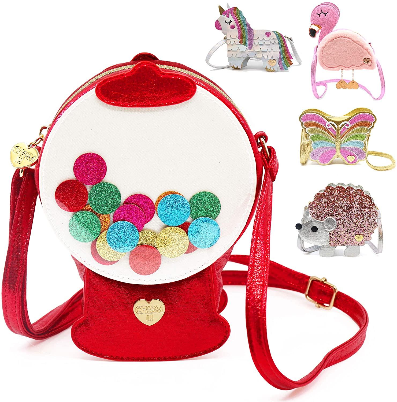 CHARM IT! Purse and Charm Bag   Crossbody Bag for Girls (Butterfly, Flamingo, Gumball Machine, Hedgehog or Unicorn)