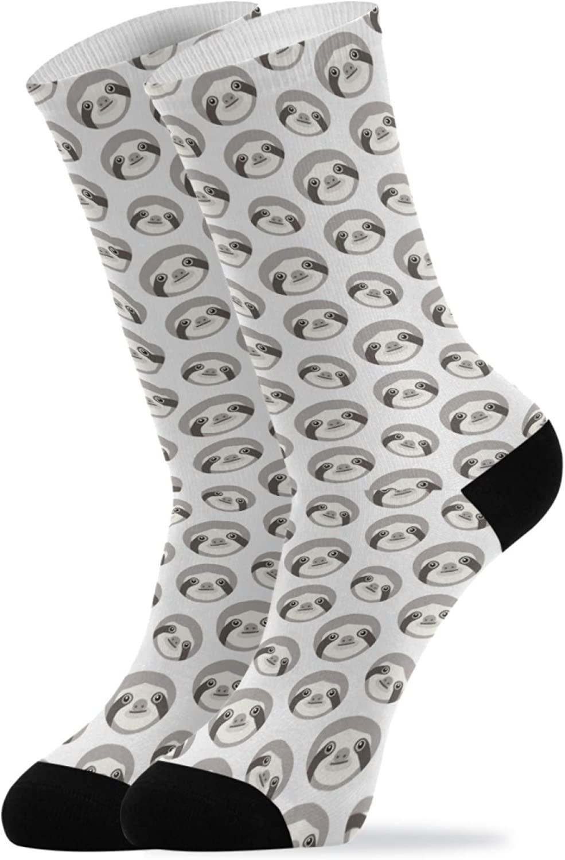 Crew Socks for Women Men Soft Cute Sloth Heads Athletic Socks