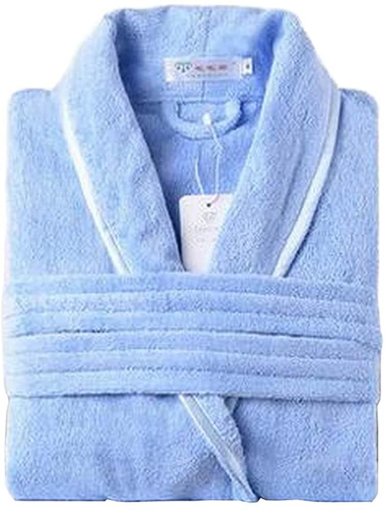 [Light Blue] Women Cotton Bathrobes Ladies Nightgown Soft Robe for Winter