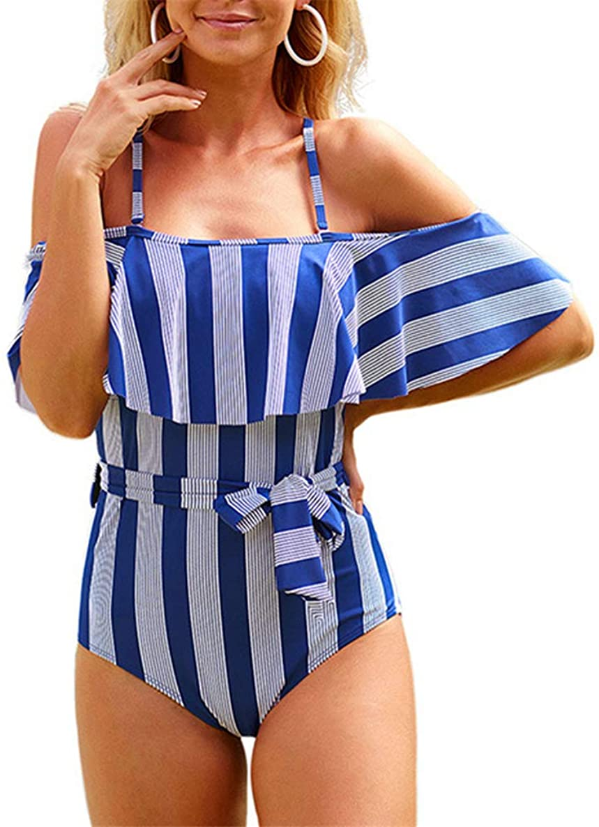 Women's One Piece Swimsuit Vintage Off Shoulder Ruffled Bathing Suits