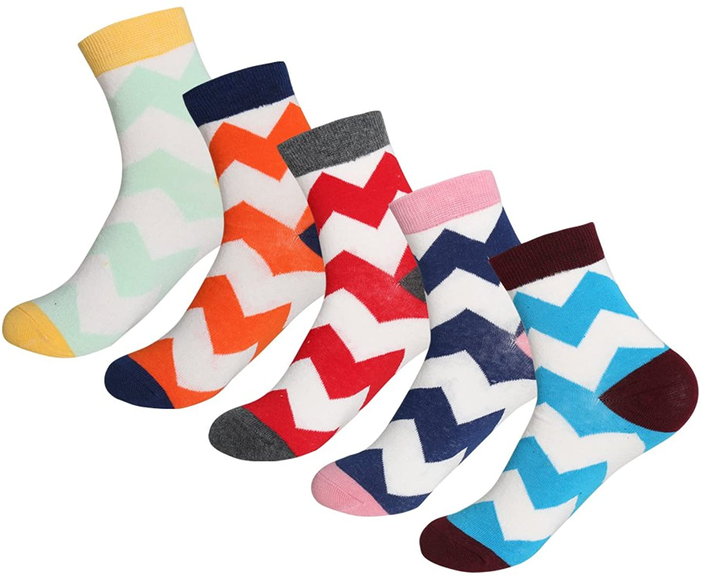 uxcell Women 5 Pack Cotton Blend Multi Pattern Crew Socks