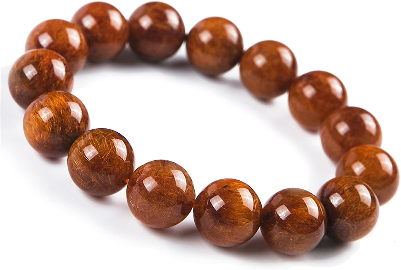 14mm Natural Copper Rutilated Quartz Crystal Round Bead Stretch Bracelet