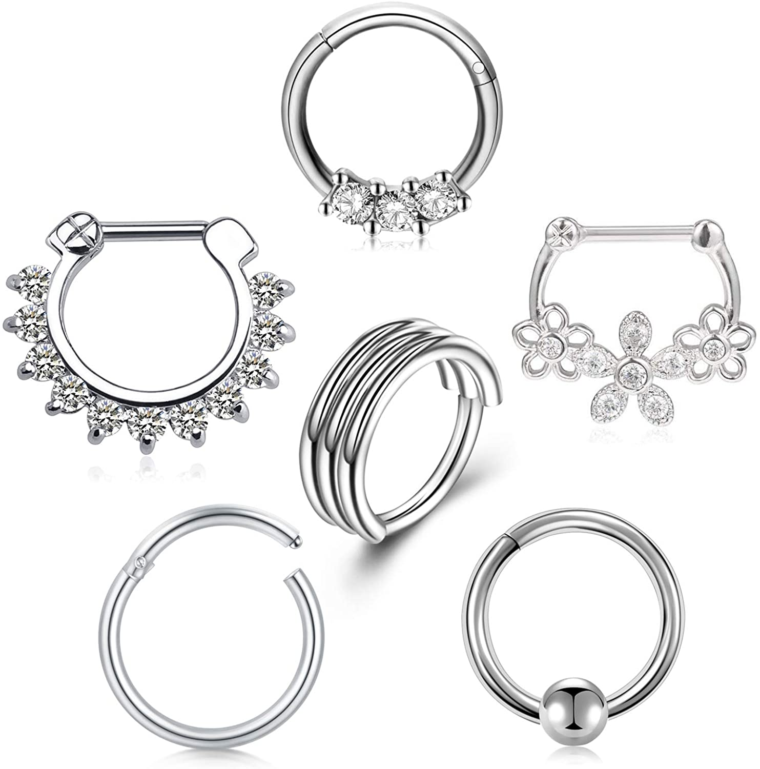 Anicina 16G Hinged Seamless Septum Hoop Nose Ring with Clear Diamond CZ Horseshoe Barbell Surgical Steel Cartilage Daith Conch Tragus Clicker Piercing Jewelry for Women Men