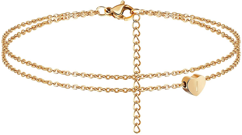 Heart Initial Ankle Bracelets for Women 18K Gold Plated Handmade Dainty Layered Letter Anklet with Heart Pendant Beach Boho Anklet Bracelet for Teen Girls