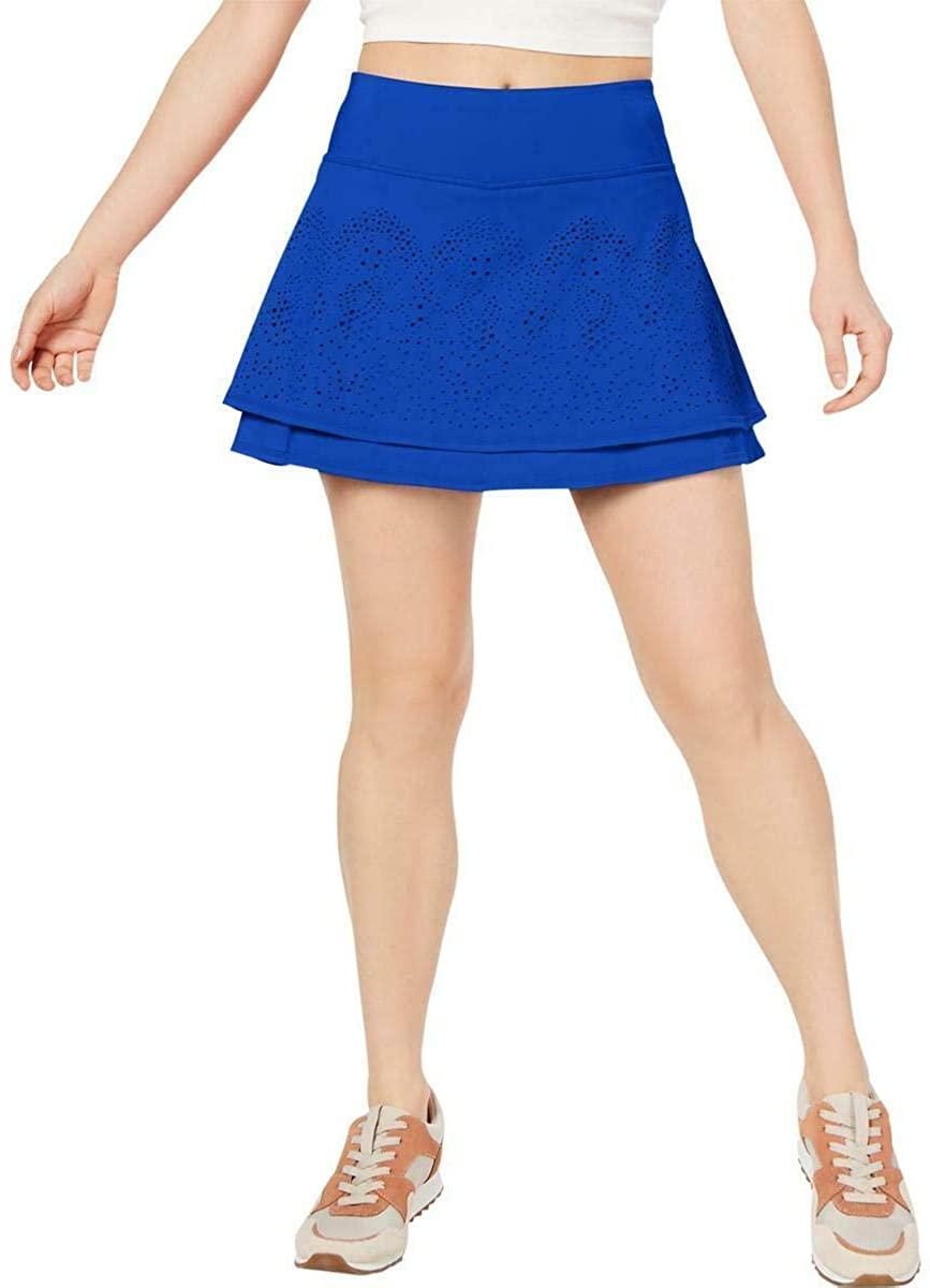 Ideology Women's Perforated Tiered Skort, Cosmic Cobalt, M Blue