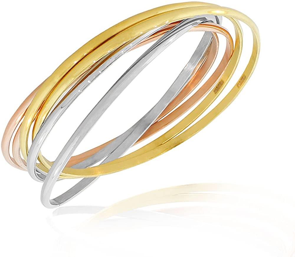 EDFORCE Stainless Steel Silver-Tone Gold-Tone Interlocked Six Bangle Bracelets Set