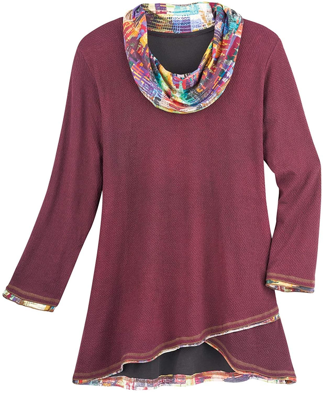 Parsley & Sage Women's Tie-Dye Crossover Tunic Top - Cowl Neckline Long Sleeves