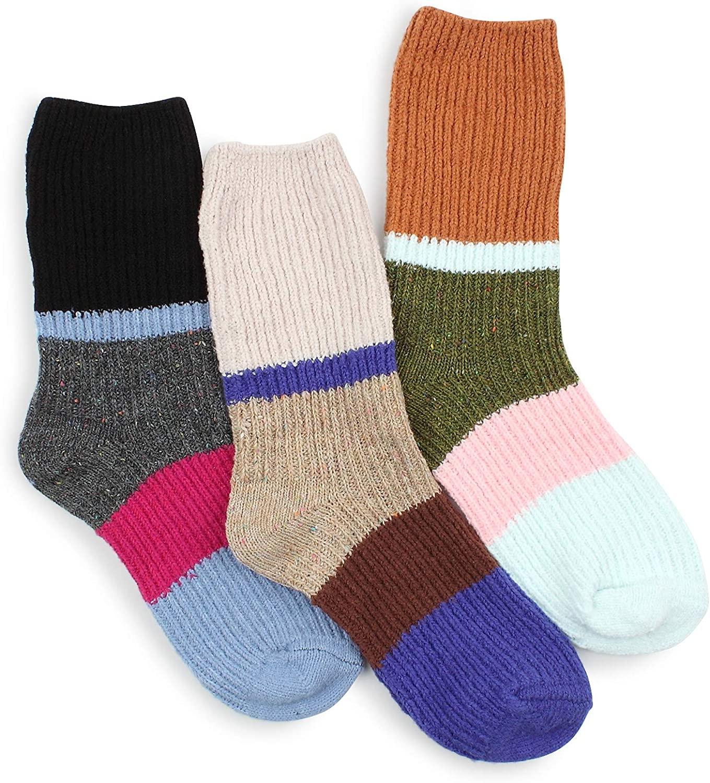 Women Cozy Color Pop Long Fur Socks