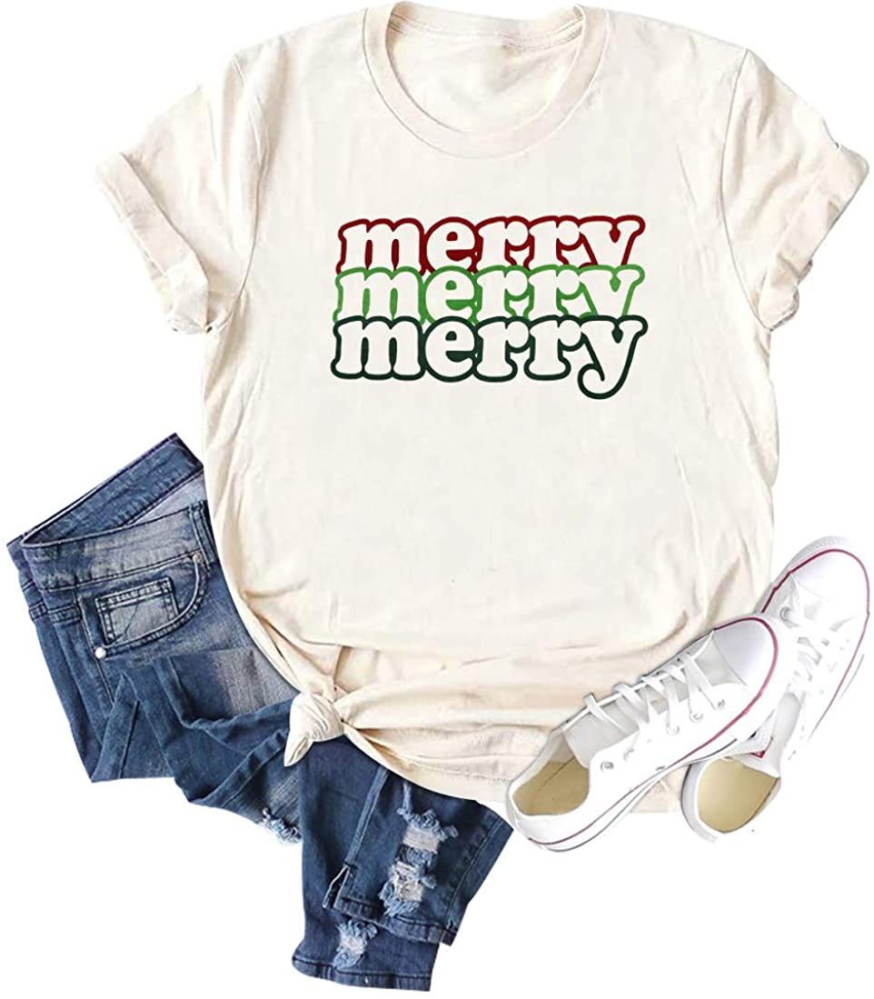 Women Merry Letter Printed Shirt Merry Christmas Casual Short Sleeve Graphic Tees Tops