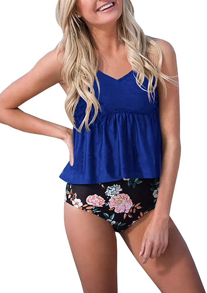 Womens High Waisted/Neck Peplum Ruffle Tankini Swimsuit Retro Halter Strap Cross Back Floral/Striped 2 Piece Bikini