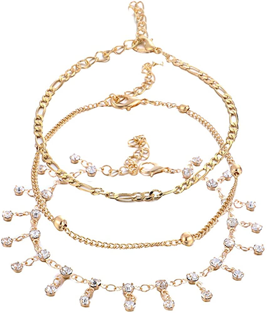 Adonpshy Anklets&3Pcs/Set Rhinestone Tassel Chain Ankle Bracelet Anklets Women Beach Jewelry Gift,a Great Gift For Your Love