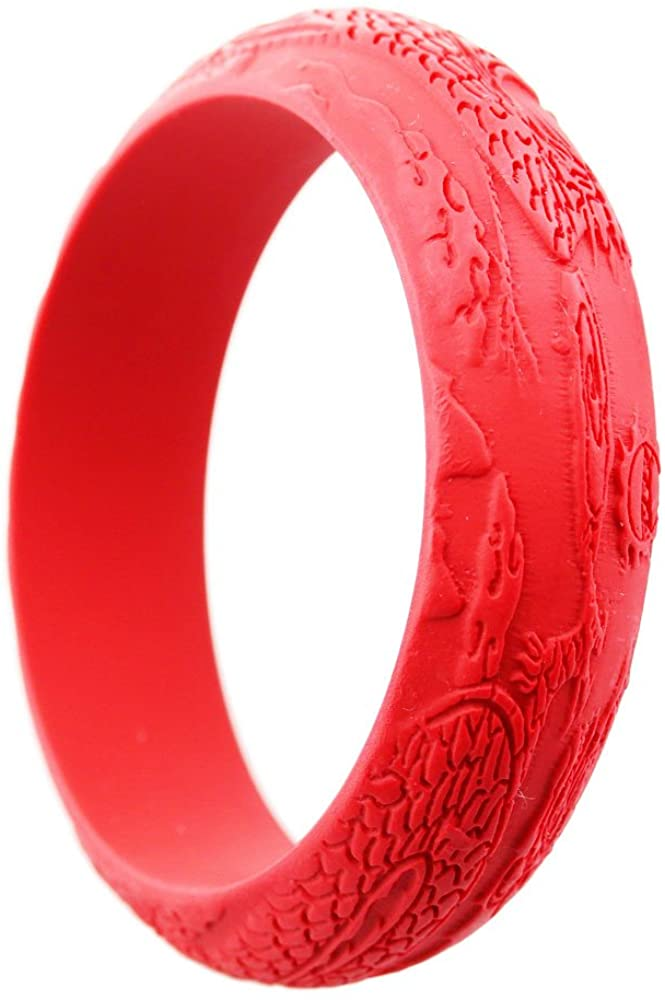 FOY-MALL Cinnabar Animal Dragon and Phoenix Design Bangle Bracelet E1413M