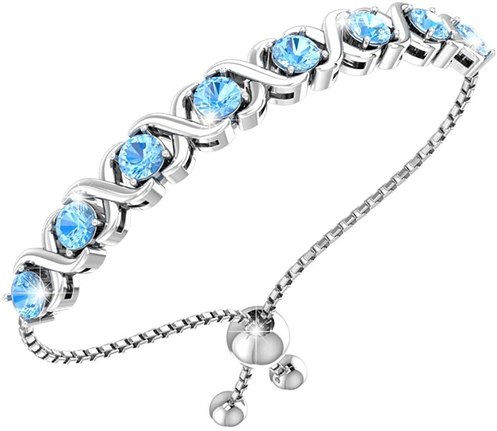 Belinda Jewelz Womens Sterling Silver Gemstones Adjustable XO Bolo Bracelet
