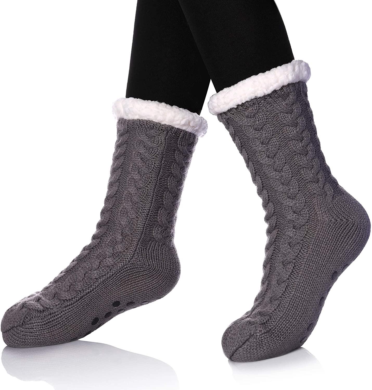 MIUBEAR Womens Soft Fuzzy Slipper Socks Winter Warm Knit Thick Fleece lined Fluffy Socks