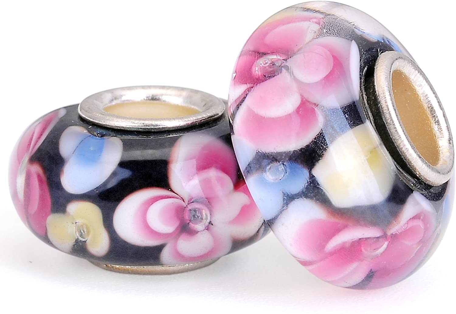 RUBYCA Floral Murano Glass Charm Beads Silver Color Core fit European Bracelet Jewelry Making 6pcs