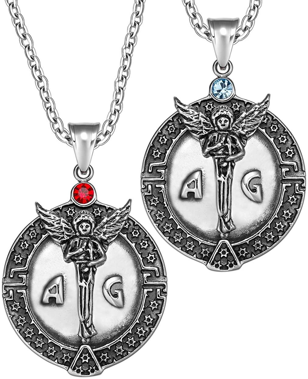 Archangel Michael Star of David Accents Love Copules or Best Friends Protection Amulets Set Necklaces
