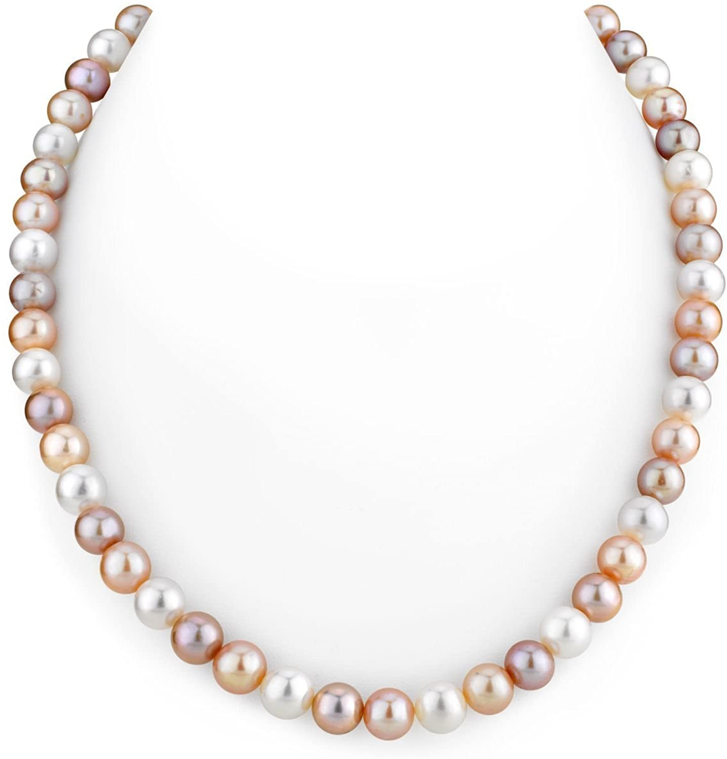 THE PEARL SOURCE 14K Gold 7-8mm AAAA Quality Multicolor Freshwater Cultured Pearl Necklace for Women in 24