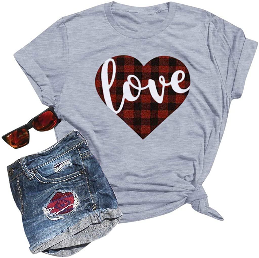 Women Heart Printed Tops Valentine's Day T Shirt Short Sleeve Blouse Love Shirts