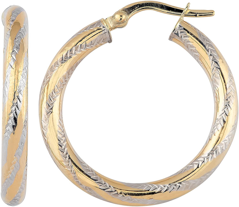 Kooljewelry 14k Two-tone Gold 3x20 mm High Polish and Diamond-cut Finished Round Hoop Earrings
