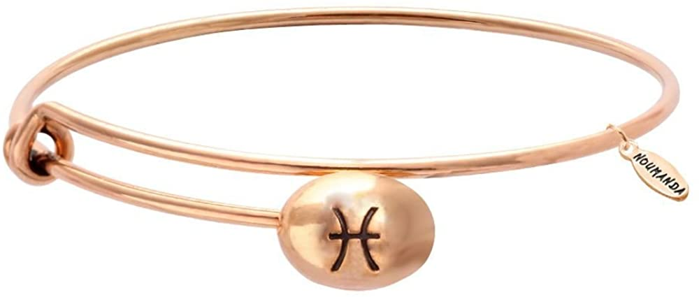 NOUMANDA Red Copper 12 Zodiac Constellation Sign Bracelet Expandable Horoscope Bracelet Bangle