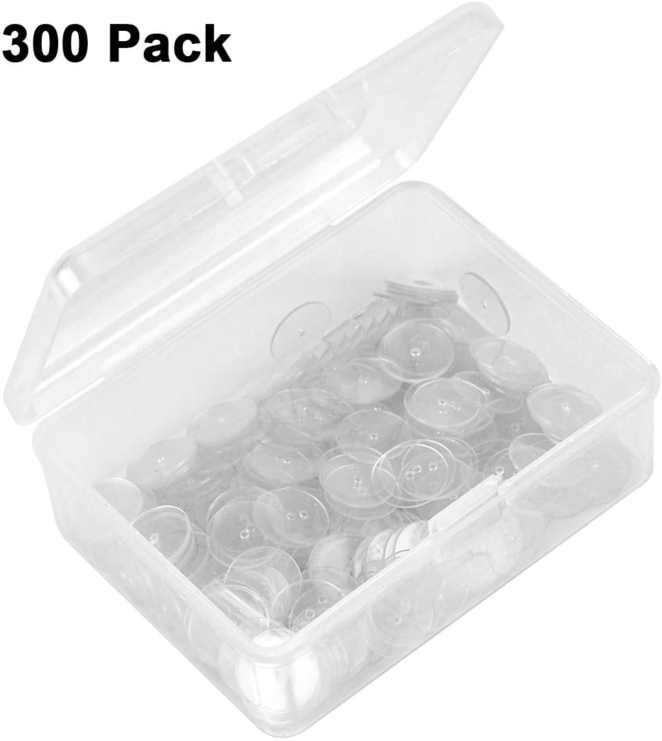300 Pack Earring Backs Clear Plastic Discs for Stabilize Earrings(with a Box)