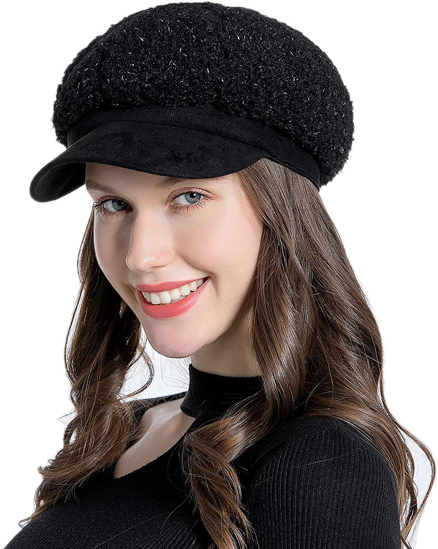 Muryobao Women Winter Warm Hat Newsboy Cap 8 Panel Bakerboy Gatsby Cabbies with Brim