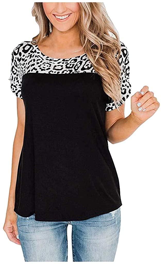 Women's Casual Short Sleeve T Shirts Color Block Tunic Leopard Elegant Tops Me