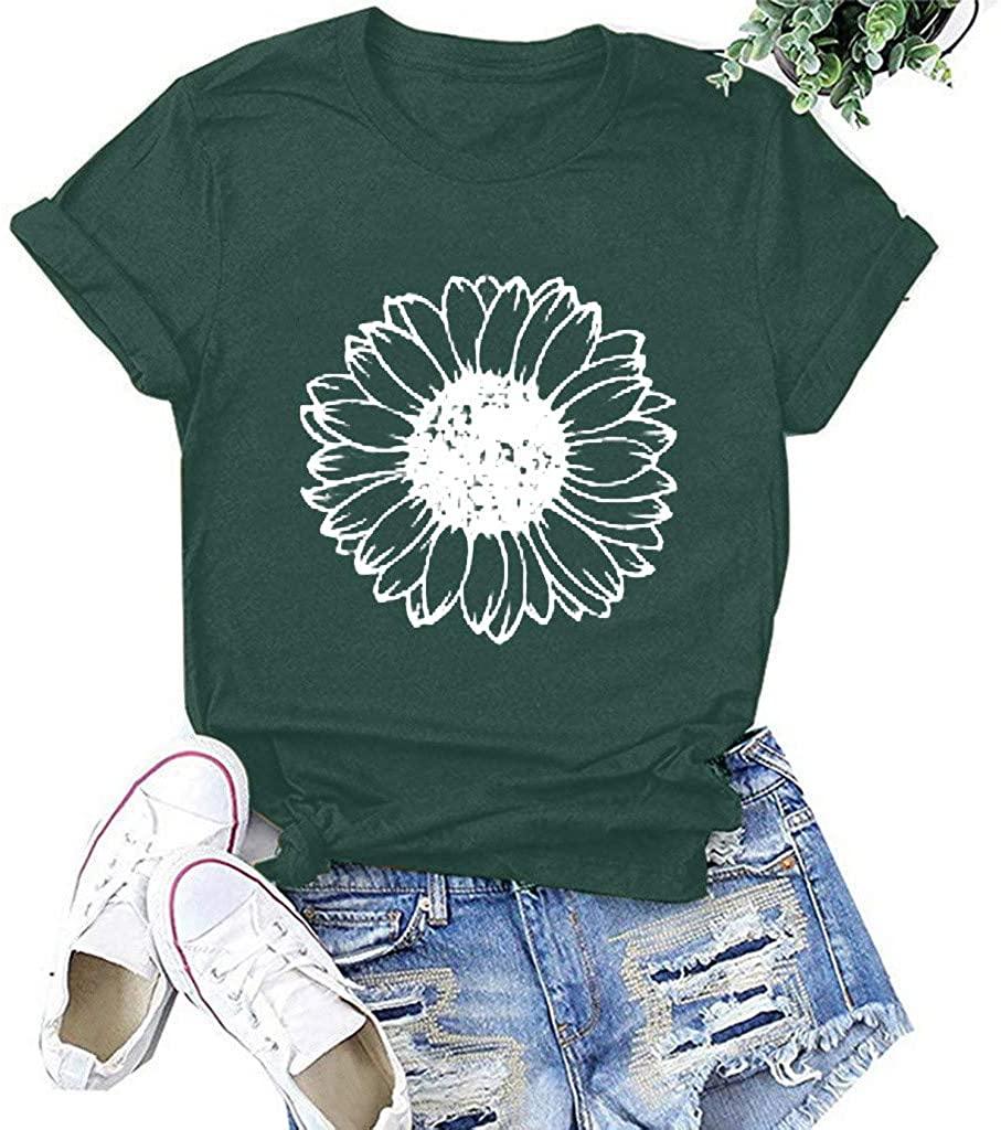 Eduavar Women Shirts Casual Summer Short Sleeve O-Neck Blouse Letter Print Basic T-Shirts Loose Comfy Tee Tunic Tops