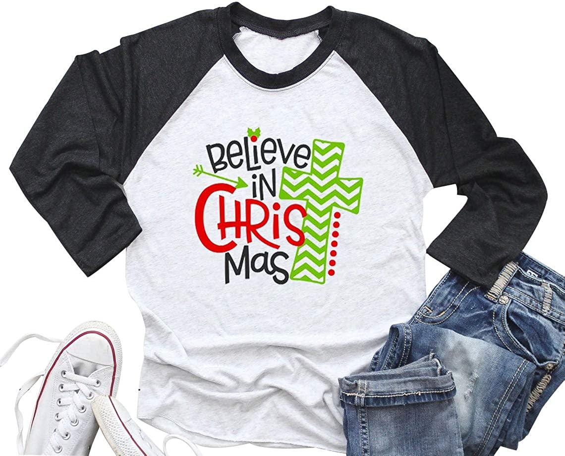 Believe in Christmas T Shirt Women Cute Graphic Christmas Holiday 3/4 Raglan Sleeve Baseball Shirt Tee Tops