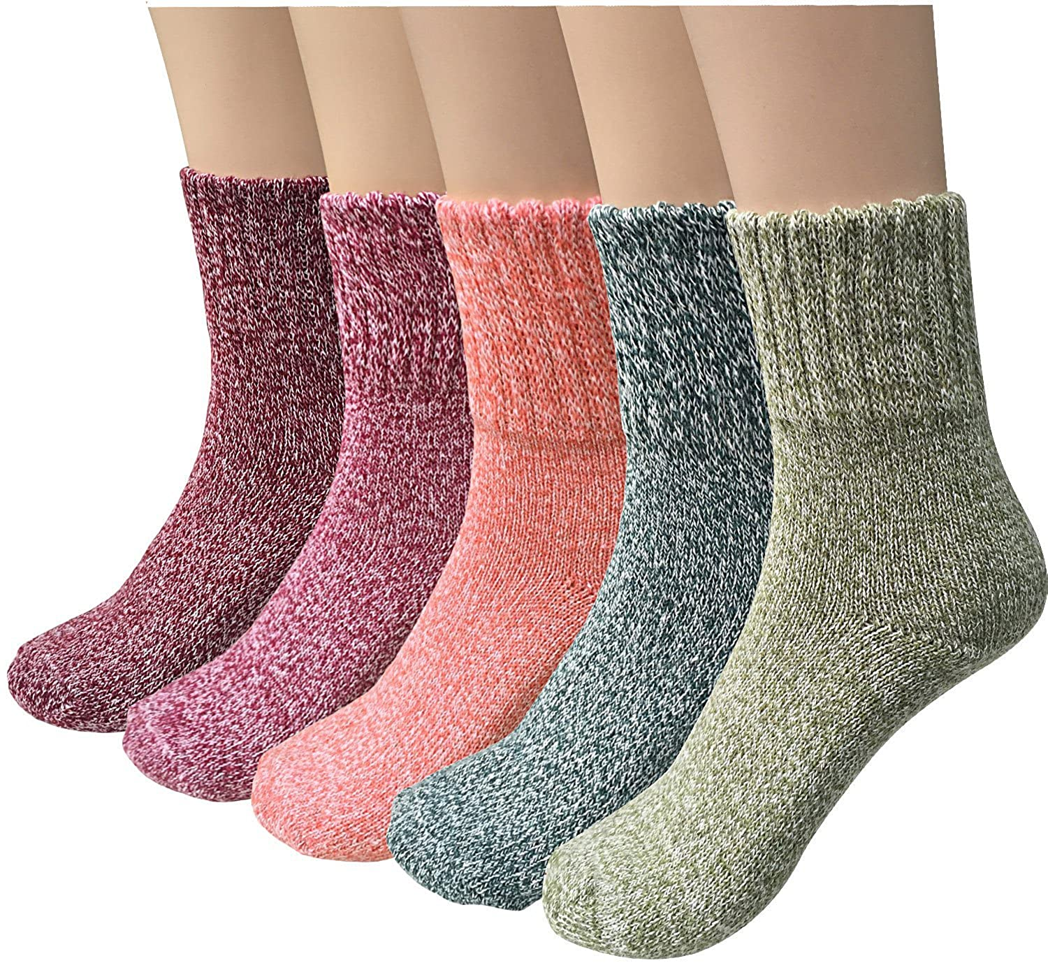 Winter Socks 5 Pairs, Vintage Style Chunky Knit Wool Cashmere,Soft Warm Thick Knit Crew Casual Winter Cold Wool Socks (MixedColors2-5pack)