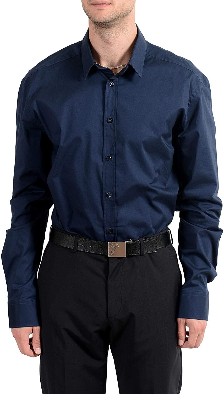 Versace Collection Trend Men's Blue Long Sleeve Dress Shirt US 18 IT 45