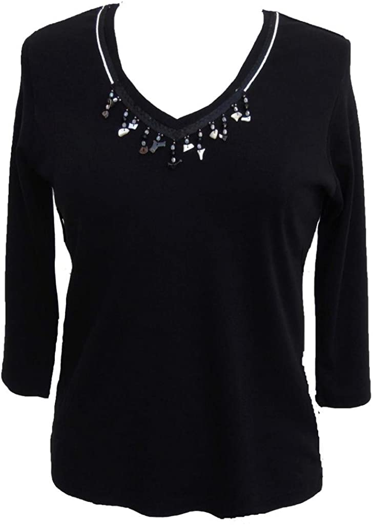 Nature Art Womens Plus Size Evening Top 3/4 Sleeve V Neck Jeweled Lace Blouse
