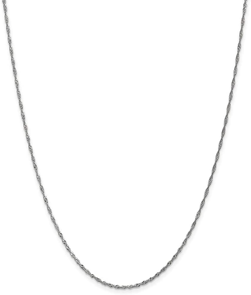 14k Solid Singapore Chain Anklet Jewelry Gifts for Women in White Gold Choice of Lengths 10 9 and 1.4mm 1.65mm