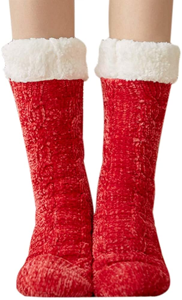 Bestjybt Women's Cozy Fleece Lining Non Slip Chenille Slipper Socks Thick Warm Winter Anti Skid Fuzzy Socks