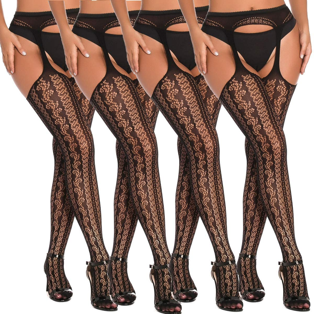 MengPa Fishnet Tights Suspender Stockings Thigh-High Pantyhose Black (J2449-55x4)