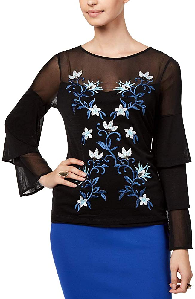 Thalia Sodi Mesh Embroidered Tiered-Sleeve Top