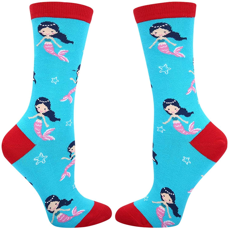 Happypop Women Girls Cat Unicorn Shark Otter Mermaid Whale Narwhal Socks, Funny Crazy Sealife Animal Lovers Gift
