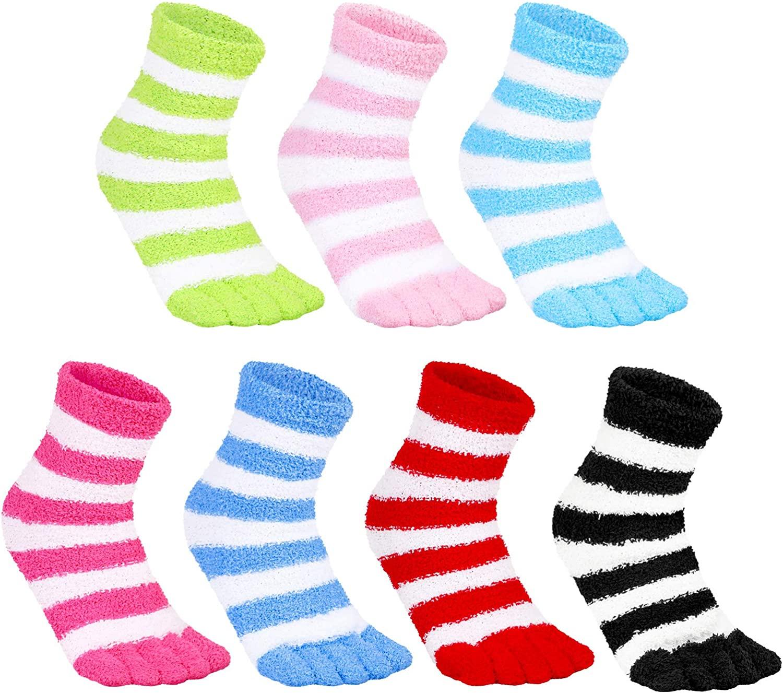 7 Pairs Fuzzy Toe Socks Fuzzy Fluffy Slipper Socks Color Striped Five Finger Socks Warm Soft Winter Home Sleeping Socks for Girl Women