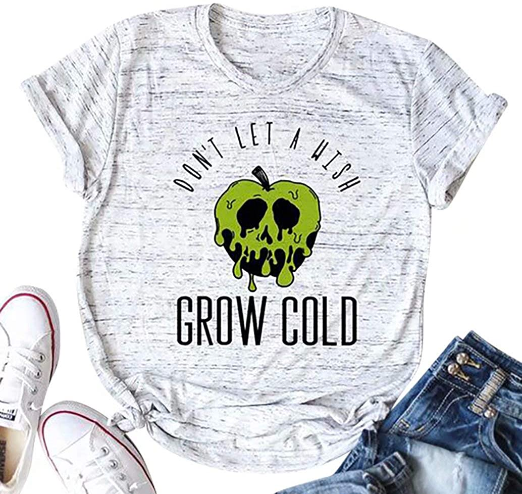 EGELEXY Don't Let A Wish Grow Cold Shirt Women Halloween Funny Inspired Casual Short Sleeved Letters Printed Top Tee