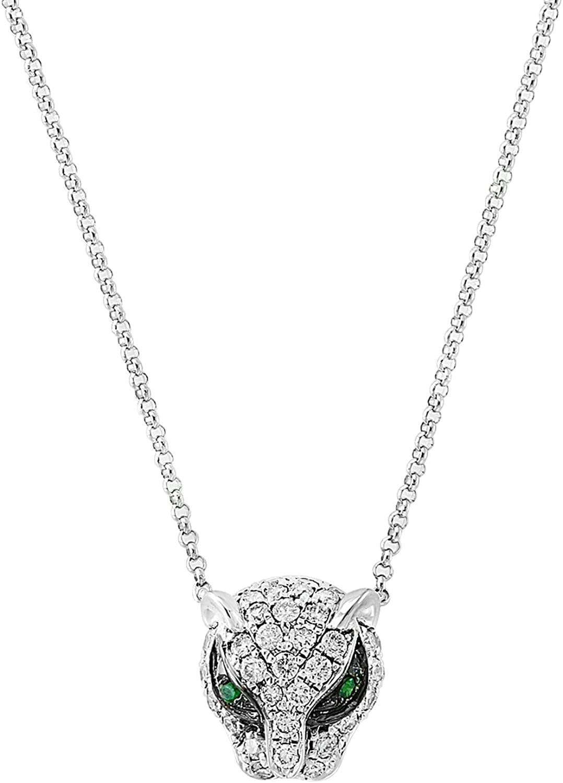 Effy 14K White Gold Diamond & Tsavorite Panther Pendant, 0.47 TCW XP0BY31DV3
