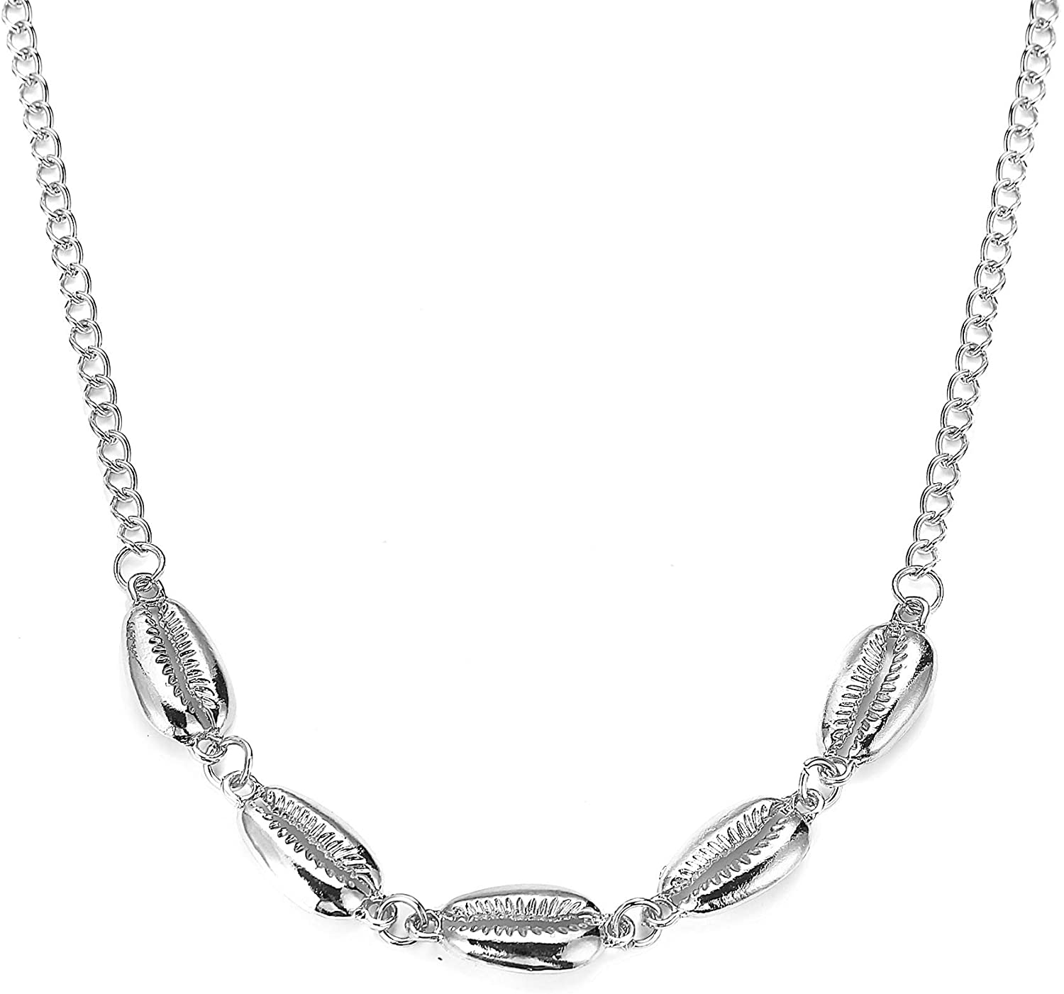 Shanzeh Jewelry Silver Sea Shell Pendant Necklace Dainty Layered with chain GT-GR 467 Silver