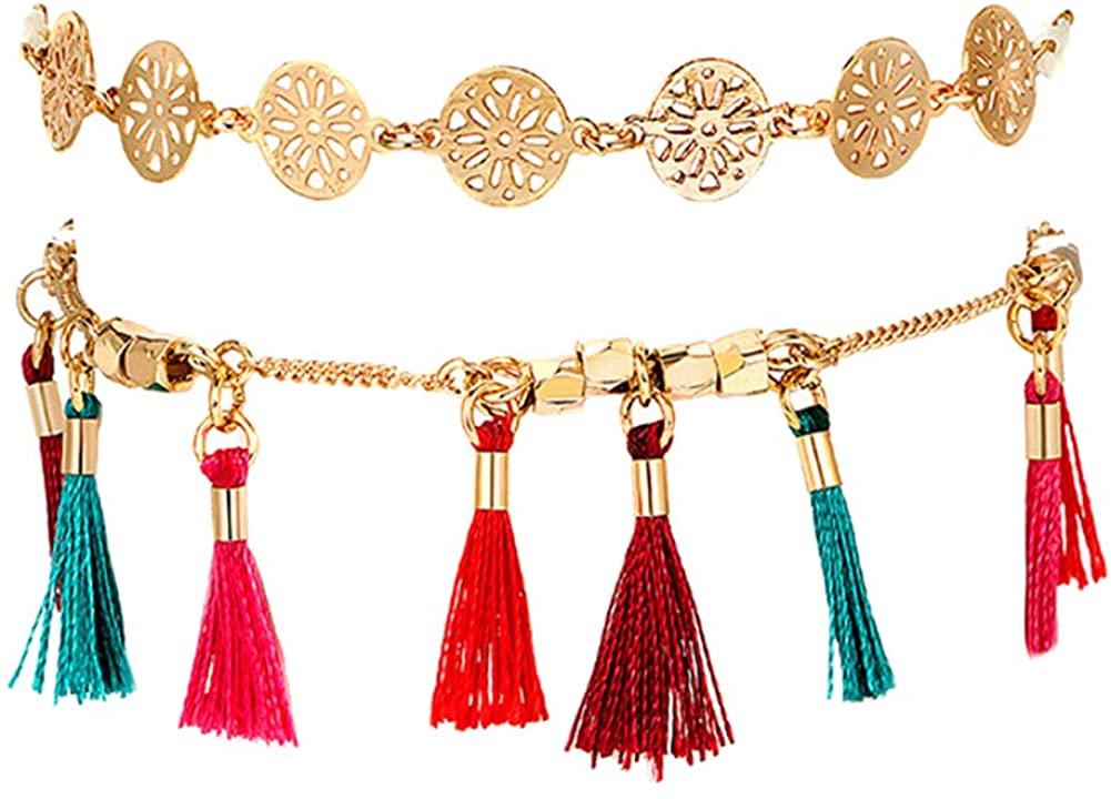 Adonpshy Anklets&2Pcs/Set Women Hollow Round Charm Tassel Anklet Summer Sandal Ankle Bracelet,a Great Gift For Your Love