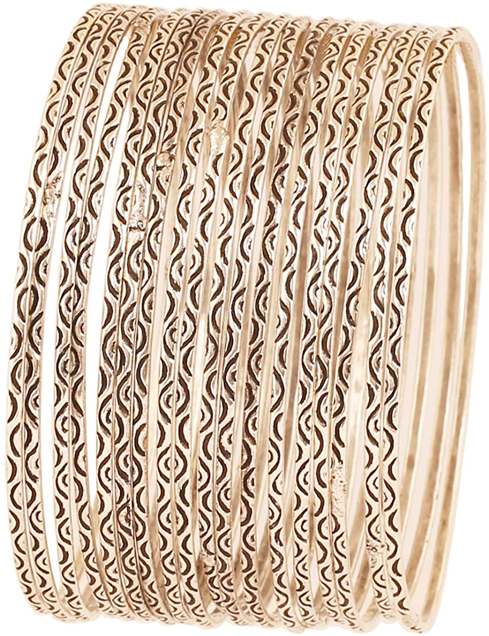Touchstone New Indian Bollywood Artistically Handcrafted Mesmerizing Charming Assorted Lovable Patterns Designer Jewelry Bracelets Bangle in Gold Copper and Silver Tones for Women.